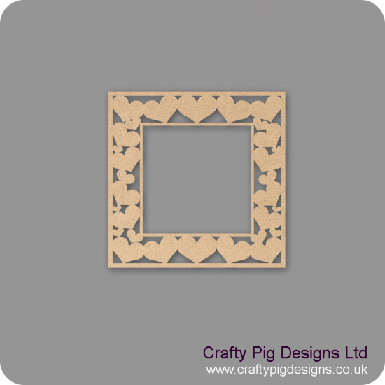 Heart Shapes Laser Cut Square Frame Basic Plaque Shapes