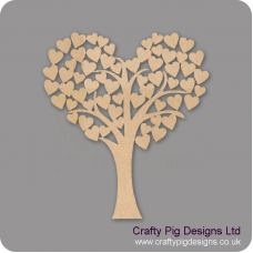 3mm MDF Heart Shaped Wedding Tree Guest Book 50cm x 45cm Trees Freestanding, Flat & Kits