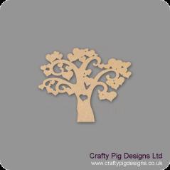 3mm MDF Heart Tree (New) Trees Freestanding, Flat & Kits