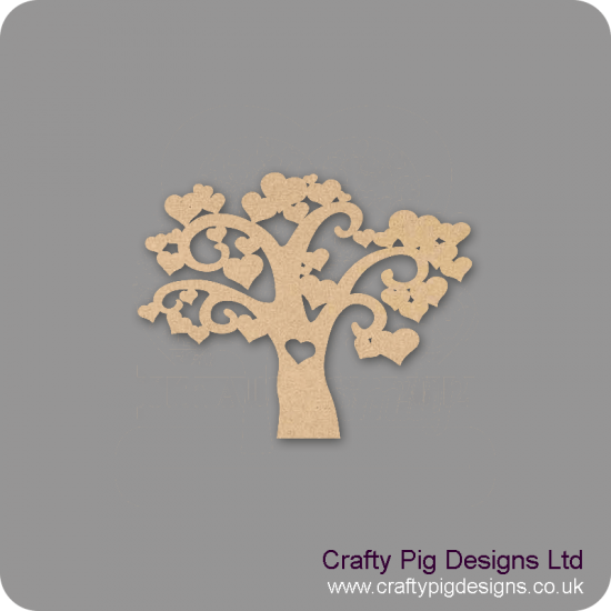 3mm MDF Heart Tree (New) Trees Freestanding, Flat & Kits