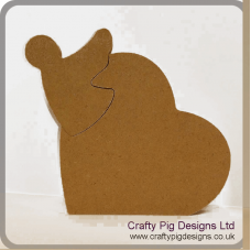 18mm MDF Freestanding Heart with Interlocking Angel
