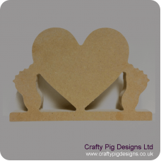 18mm Freestanding Heart with baby feet 18mm MDF Craft Shapes