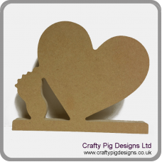 18mm Freestanding Slanted Heart with baby foot 18mm MDF Craft Shapes