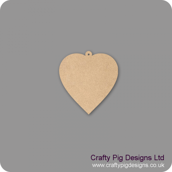 3mm MDF Heart With Hoop (pack of 10)