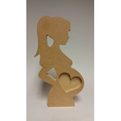 18mm  Bump Scan With Heart Picture Cut Out (With Ponytail) 18mm MDF Craft Shapes
