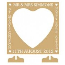 MDF Square (with heart shaped centre) Wedding Drop Box (personalised with Mr & Mrs, Date and more)