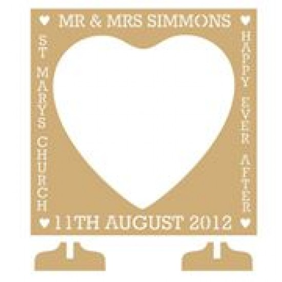 MDF Square (with heart shaped centre) Wedding Drop Box (personalised with Mr & Mrs, Date and more) Personalised and Bespoke