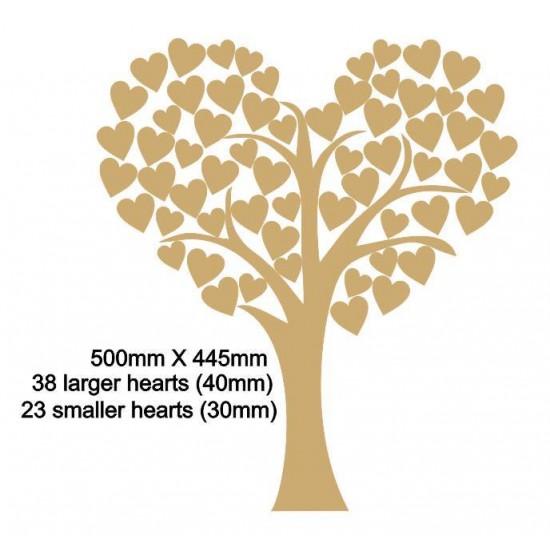 3mm MDF Heart Shaped Wedding Tree Guest Book 50cm x 45cm
