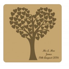 3mm MDF Heart Shaped Wedding Tree Guest Book With Engraved Backboard Trees Freestanding, Flat & Kits