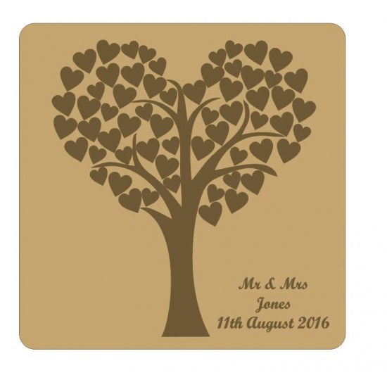 3mm MDF Heart Shaped Wedding Tree Guest Book With Engraved Backboard