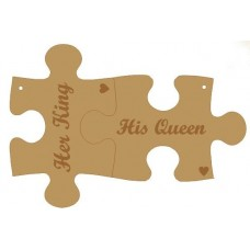 3mm MDF His and Hers Interlocking Keyrings - Her King - His Queen Keys and Keyrings