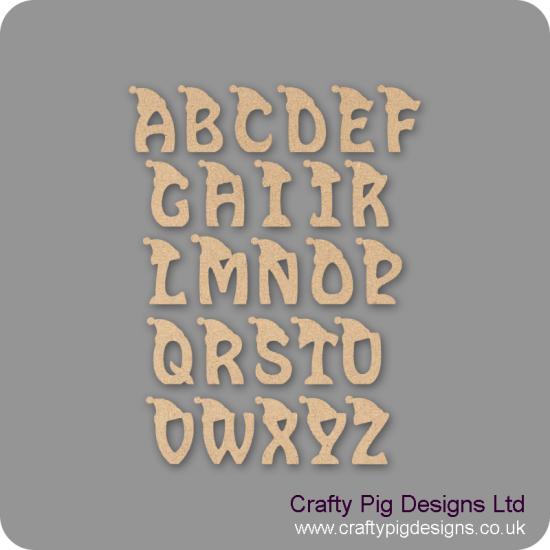 18mm Christmas Letters With Hat 18mm MDF Letters and Numbers