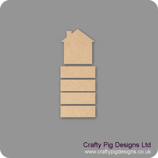 3mm mdf House Shape With 4 Hanging Plaques Basic Plaque Shapes