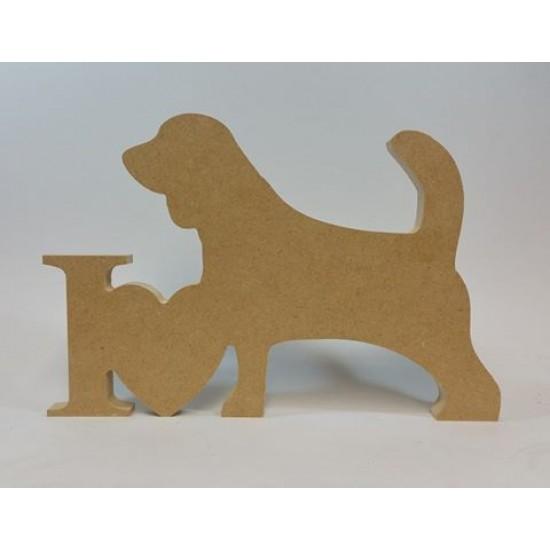 "18mm Freestanding ""I Heart Beagle"" Shape 18mm MDF Craft Shapes"