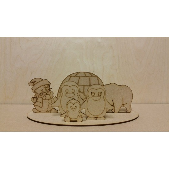 3mm MDF Igloo with penguins, polar bear and snowman