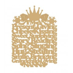 3mm MDF I'm a present giving Nanny (diff wording available) Princess Crown Style Mother's Day
