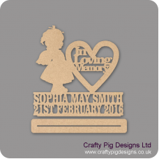 4mm mdf In Loving Memory Girl With Wings Plinth Double Row Name And Date Baby Shapes