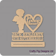 4mm mdf In Loving memory Boy With Wings Plinth Double Row Name And Date Baby Shapes