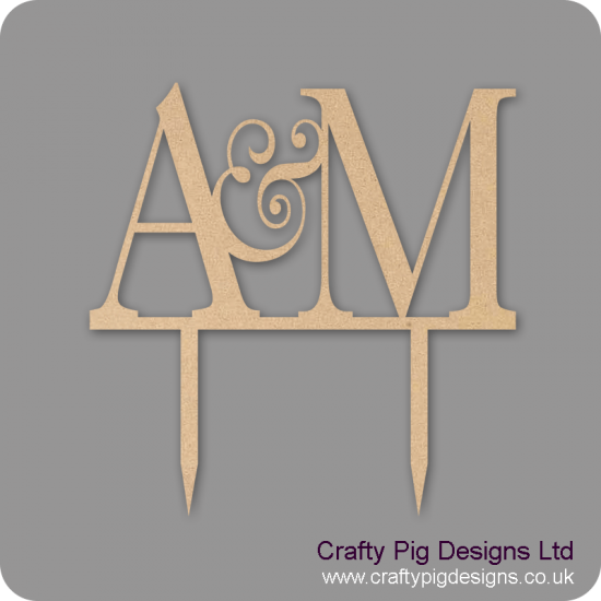 3mm MDF Initials Cake Topper Personalised and Bespoke