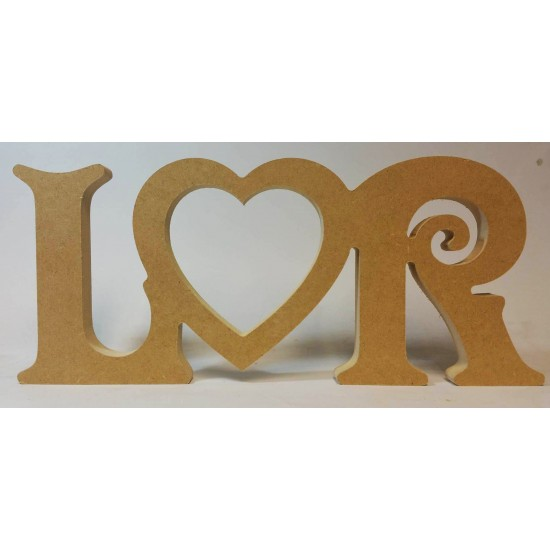 18mm Freestanding Initials And Open Heart Design 18mm MDF Engraved Craft Shapes