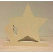 18mm Freestanding Star with baby foot 18mm MDF Craft Shapes