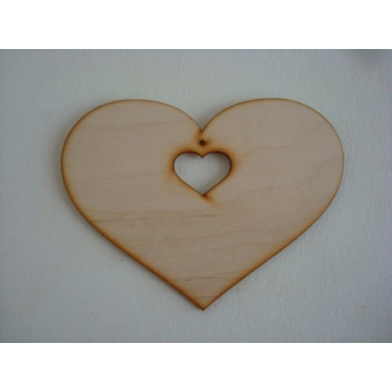 3mm MDF Country Heart with Small heart cut out and hole (sized by width) Hearts