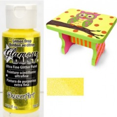 Decoart Glamour Dust Ultra Fine Glitter Paint - Lemon Drop 2oz