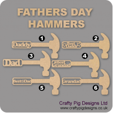 3mm MDF Fathers Day Hammer Shape with Words Fathers Day