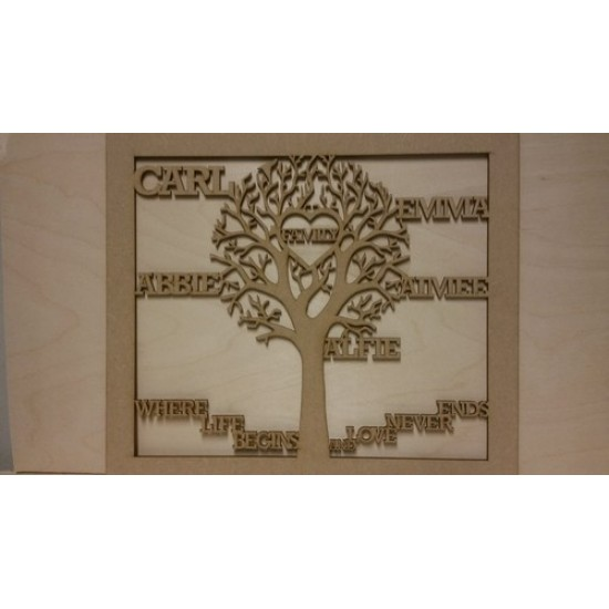 3mm MDF Family Tree in Frame  - Personalised with Your Names Trees Freestanding, Flat & Kits