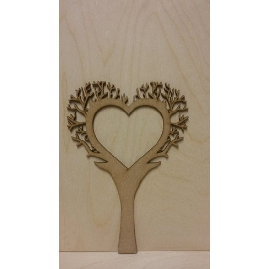 3mm MDF Heart Shaped Tree with 1 Heart Cut Out  - Personalised with 2 Names Trees Freestanding, Flat & Kits