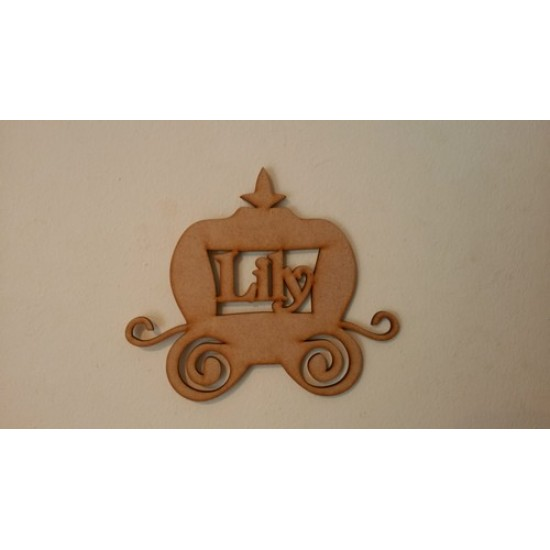 3mm MDF Princess Carriage with name (up to 6 letters only)(by height) Christmas Shapes