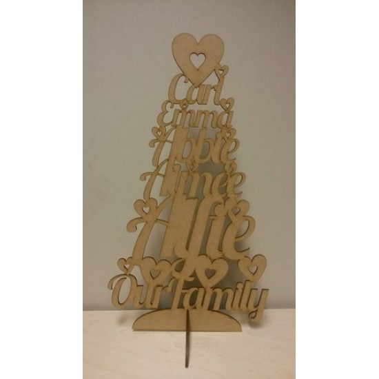 3mm MDF Our Family - Names Tree  - Personalised with Your Names Trees Freestanding, Flat & Kits