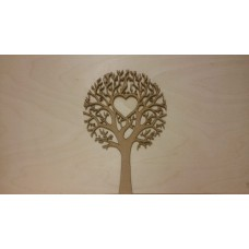 3mm MDF Tree with 1 Heart  - Personalised with 1 Name or 2 Initials Trees Freestanding, Flat & Kits