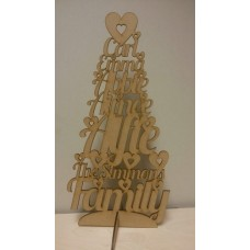 3mm MDF The (Your Surname) Family - Names Tree  - Personalised with Your Names Trees Freestanding, Flat & Kits
