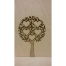 3mm MDF Tree with 5 Hearts  - Personalised with Your Names or Initials Trees Freestanding, Flat & Kits
