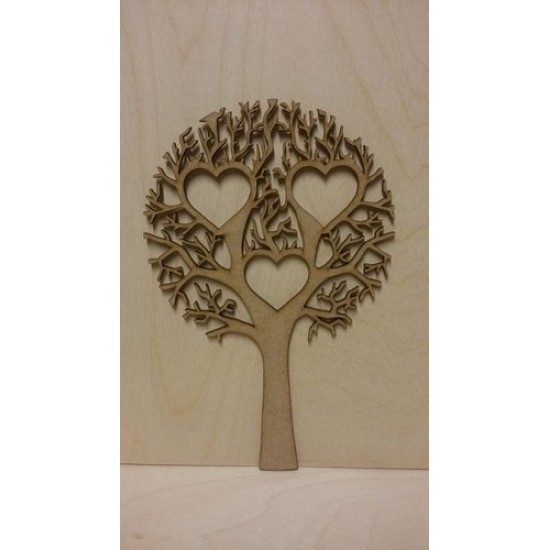 3mm MDF Tree with 3 Hearts  - Personalised with Your Names or Initials Trees Freestanding, Flat & Kits