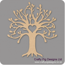 3mm MDF Curvy Tree with Heart Cut Out Trees Freestanding, Flat & Kits