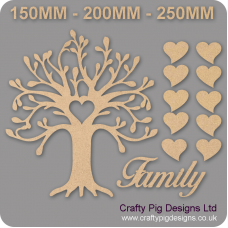 3mm MDF Curvy Tree Heart Cutout Family Tree Pack Kit Romantic Hearts Trees Freestanding, Flat & Kits