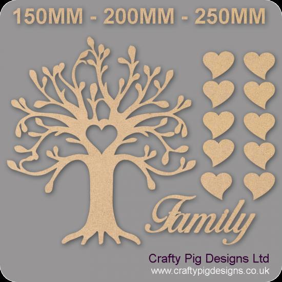 3mm MDF Curvy Tree Heart Cutout Family Tree Pack Kit Romantic Hearts Trees Freestanding, Flat & Kits