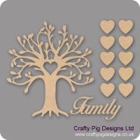 3mm MDF Curvy Tree Heart Cutout Family Tree Pack Kit Fuller Hearts