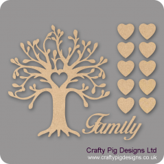 3mm MDF Curvy Tree Heart Cutout Family Tree Pack Kit Fuller Hearts Trees Freestanding, Flat & Kits