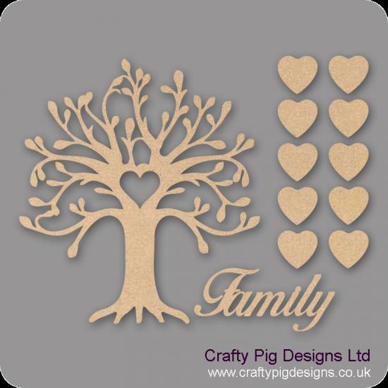 3mm MDF Curvy Tree Heart Cutout Family Tree Pack Kit Fuller Hearts