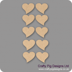 3mm MDF Romantic Heart - (As used in family tree kits) Pack of 10