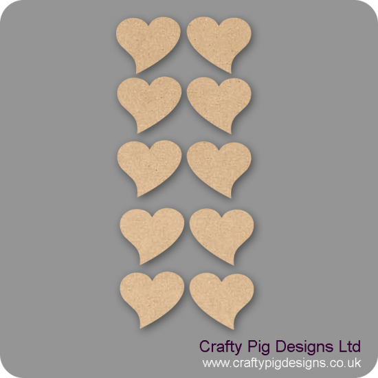 3mm MDF Romantic Heart - (As used in family tree kits) Pack of 10 Hearts