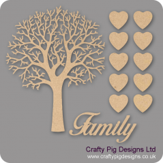 3mm MDF Natural Top Family Tree Kit Fuller Hearts Trees Freestanding, Flat & Kits