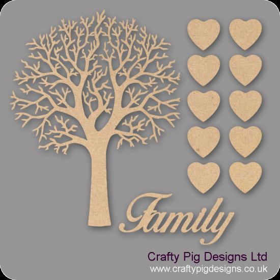 3mm MDF Natural Top Family Tree Kit Fuller Hearts Trees Freestanding, Flat & Kits
