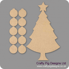 3mm MDF Basic Christmas Family Tree Kit with 10 Baubles Trees Freestanding, Flat & Kits