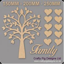 3mm MDF Tree Pointy Leaves Family Tree Kit Romantic Hearts Trees Freestanding, Flat & Kits