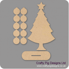 3mm MDF Basic Christmas Family Tree Kit with 10 Baubles & Plinth Trees Freestanding, Flat & Kits