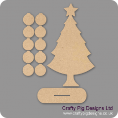 3mm MDF Basic Christmas Family Tree Kit with 10 Baubles & Plinth